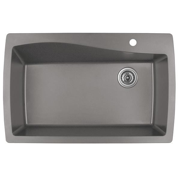 Karran 34-in Concrete Quartz Large Single Bowl Kitchen Sink