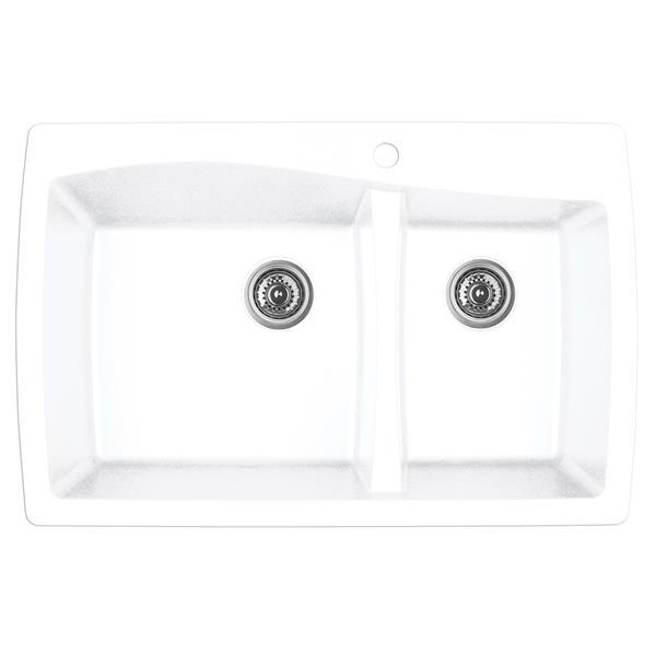 Karran 34-in White Quartz 1.5 Kitchen Sink