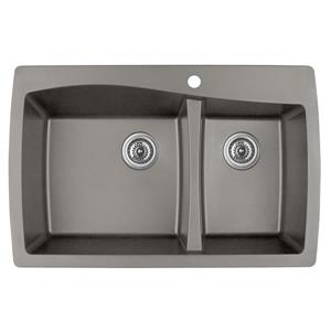 Karran 34-in Concrete Quartz 1.5 Kitchen Sink