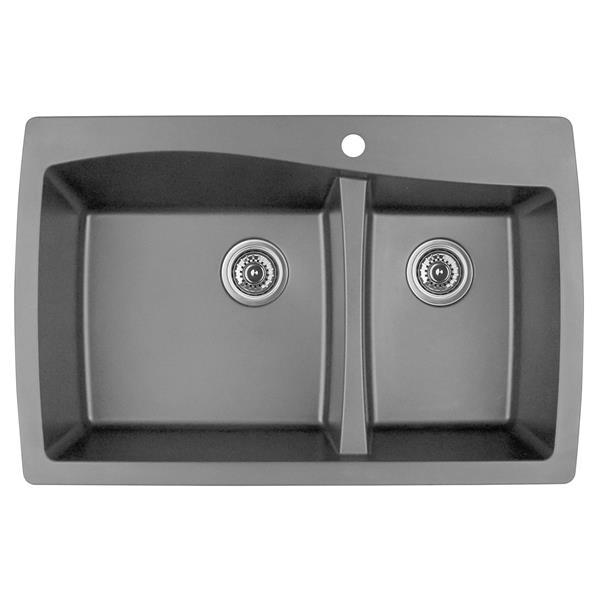 Karran 34-in Gray Quartz 1.5 Kitchen Sink