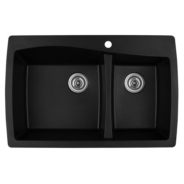 Karran 34-in Black Quartz 1.5 Kitchen Sink