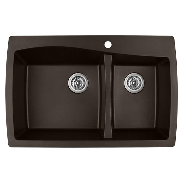 Karran 34-in Brown Quartz 1.5 Kitchen Sink
