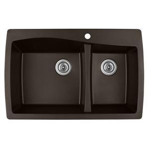 Karran 34-in Brown Quartz 1.5 Kitchen Sink