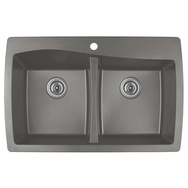 Karran Concrete Quartz 34-in Double Kitchen Sink