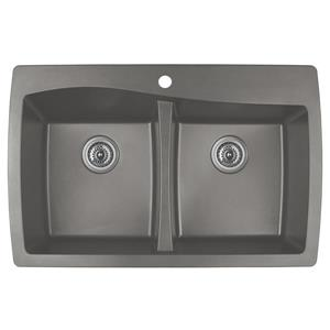 Karran Concrete Quartz 34-in Double Kitchen Sink