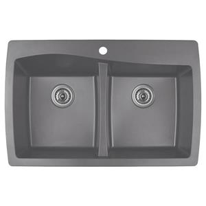 Karran Brown Quartz 34-in Double Kitchen Sink