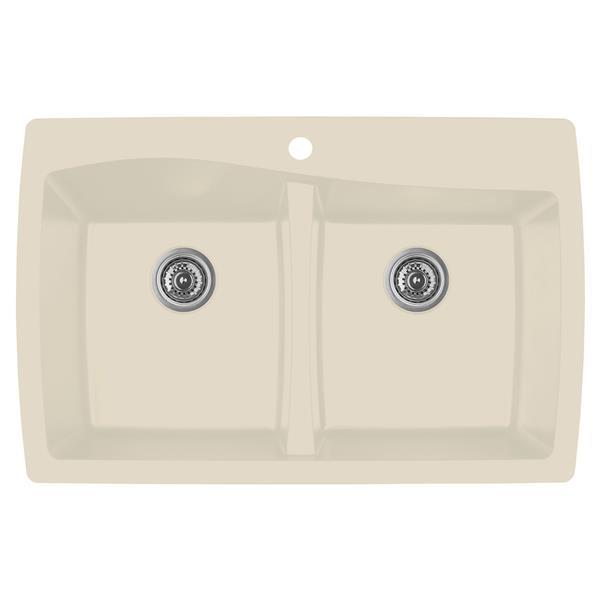 Decolav Karran Bisque Quartz 34-in Double Kitchen Sink