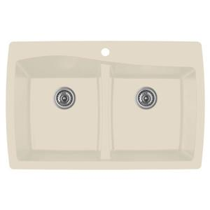 Karran Bisque Quartz 34-in Double Kitchen Sink