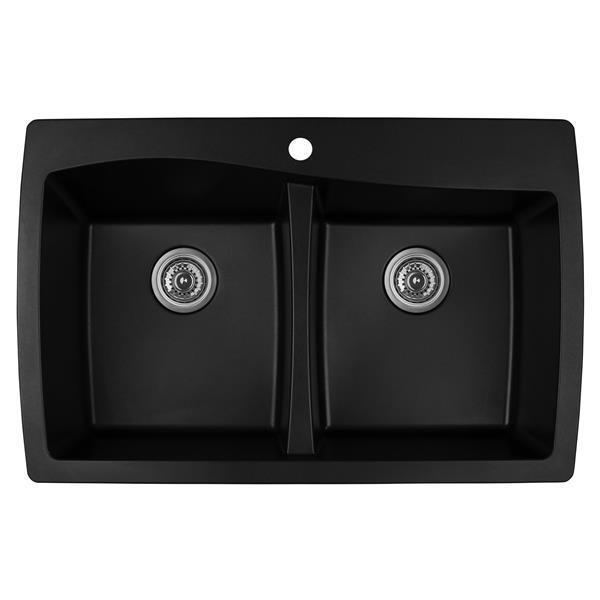 Decolav Karran Black Quartz 34-in Double Kitchen Sink