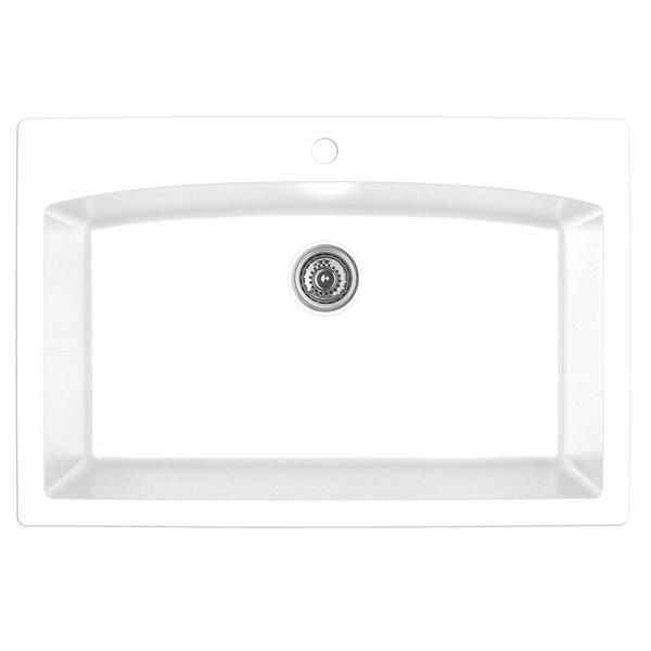 Karran 33-in White Quartz Large Single Bowl Kitchen Sink with Single Hole