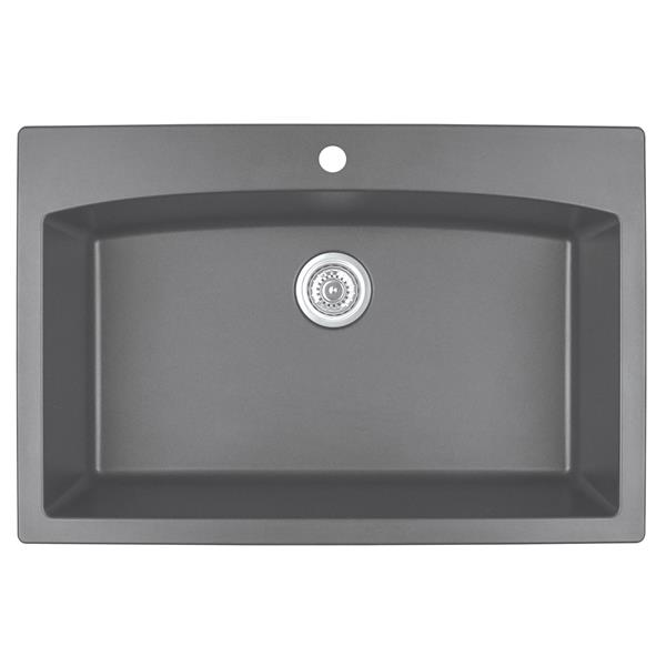 Karran 33-in Gray Quartz Large Single Bowl Kitchen Sink with Single Hole