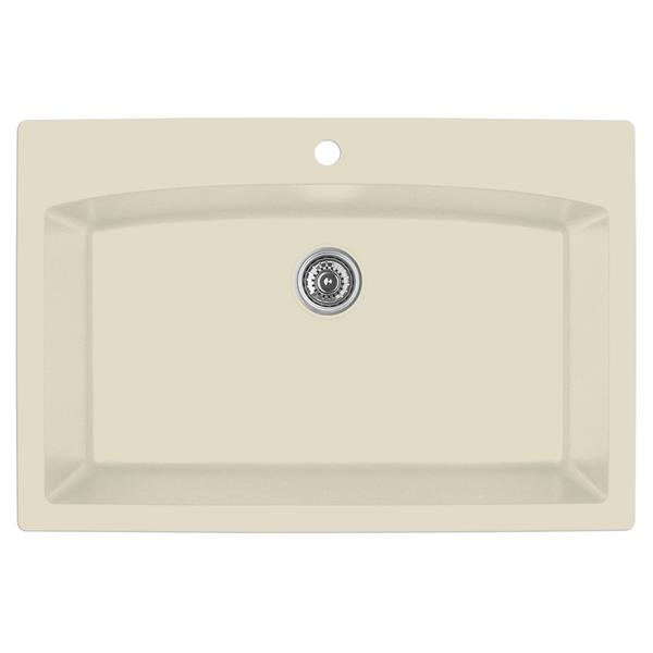 Decolav Karran 33-in Bisque Quartz Large Single Bowl Kitchen Sink with Single Hole