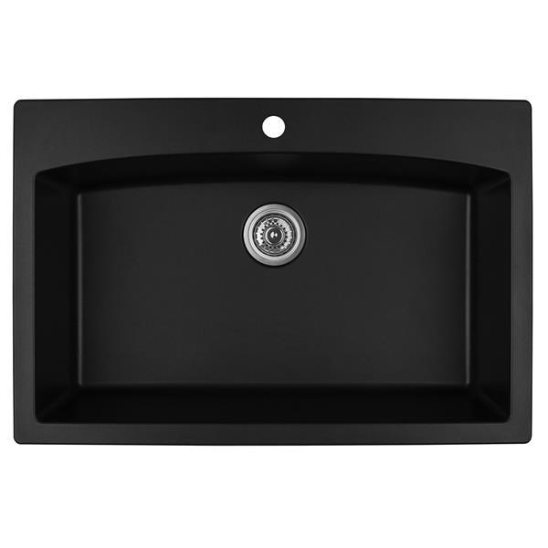 Karran 33-in Black Quartz Large Single Bowl Kitchen Sink with Single Hole