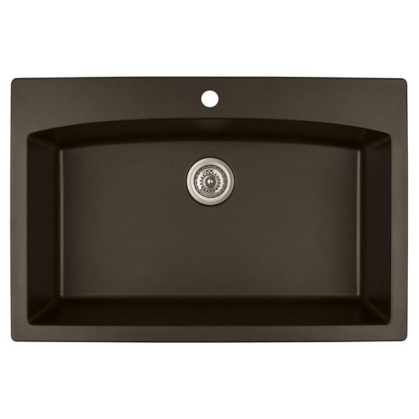 Decolav Karran 33-in Brown Quartz Large Single Bowl Kitchen Sink with Single Hole