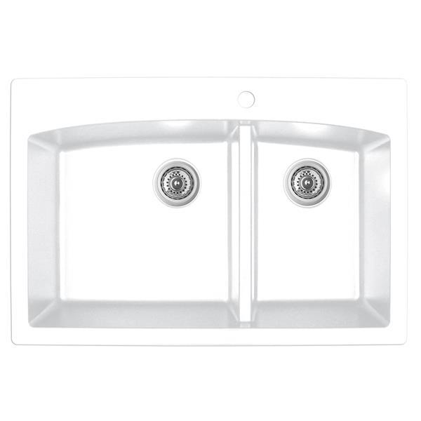 Karran 33-in White Quartz 1.5 Kitchen Sink