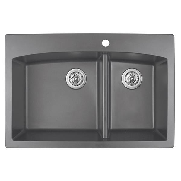 Decolav Karran 33-in Gray Quartz 1.5 Kitchen Sink