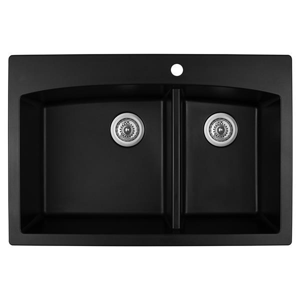 Karran 33-in Black Quartz 1.5 Kitchen Sink