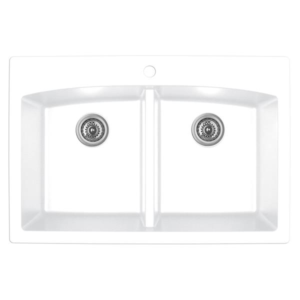 Karran White Quartz 33-in Double Kitchen Sink