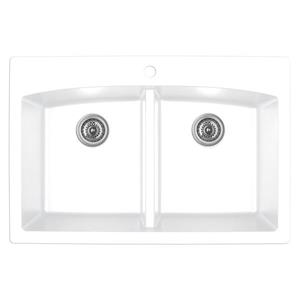 Karran White Quartz 33-in Double Kitchen Sink