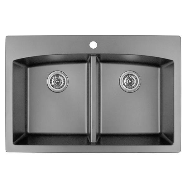 Karran Gray Quartz 33-in Double Kitchen Sink