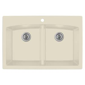 Karran Bisque Quartz 33-in Double Kitchen Sink