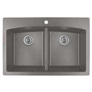 Karran Concrete Quartz 33-in Double Kitchen Sink