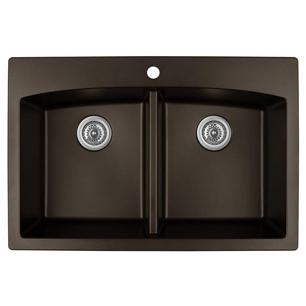 Decolav Karran Brown Quartz 33-in Double Kitchen Sink