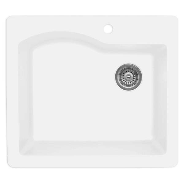Karran 25-in White Quartz Large Single Bowl Kitchen Sink with Single Hole