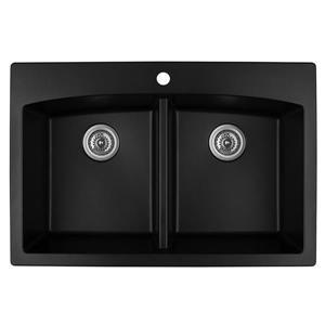 Karran Black Quartz 33-in Double Kitchen Sink