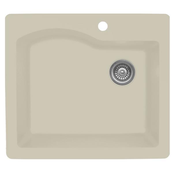 Karran 25-in Bisque Quartz Large Single Bowl Kitchen Sink with Single Hole
