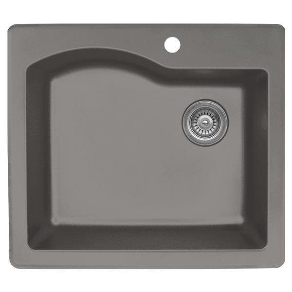 Karran 25-in Concrete Quartz Large Single Bowl Kitchen Sink with Single Hole