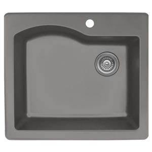 Karran 25-in Concrete Quartz Large Single Bowl Kitchen Sink with Single Hole