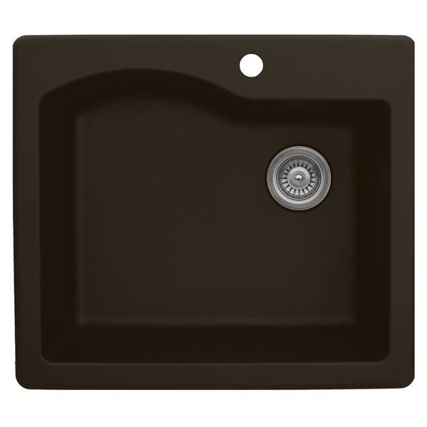Karran 25-in Brown Quartz Large Single Bowl Kitchen Sink with Single Hole