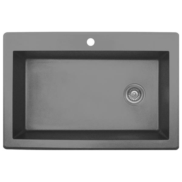 Karran 33-in Gray Quartz Large Single Bowl Kitchen Sink with Single Hole