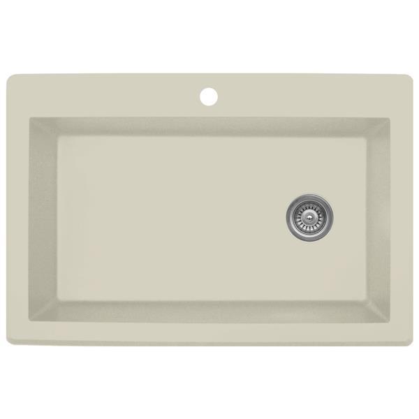 Karran 33-in Bisque Quartz Large Single Bowl Kitchen Sink with Single Hole