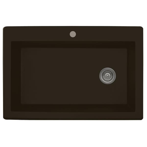 Karran 33-in Brown Quartz Large Single Bowl Kitchen Sink with Single Hole