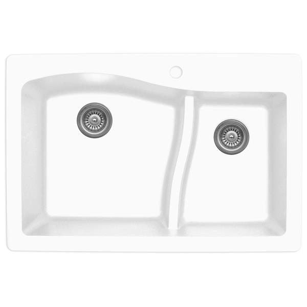 Évier de cuisine Karran 1-1/2, 33 po, quartz, blanc