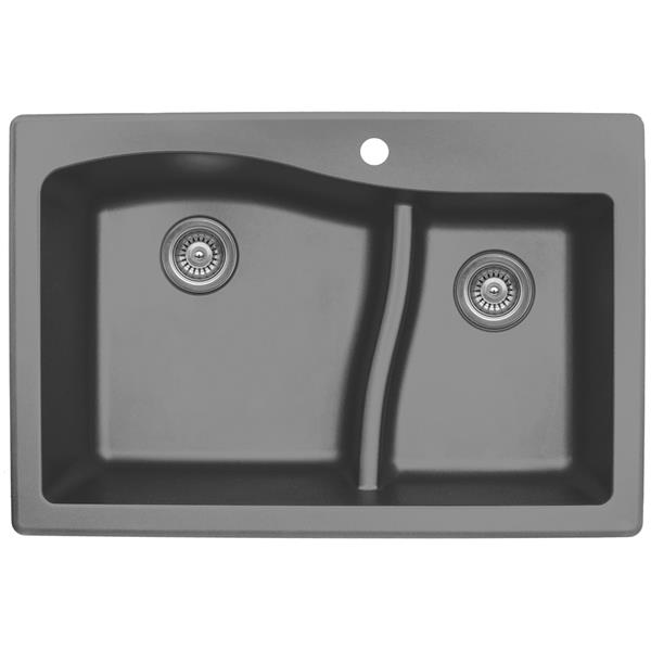 Karran 33-in Gray Quartz 1.5 Kitchen Sink