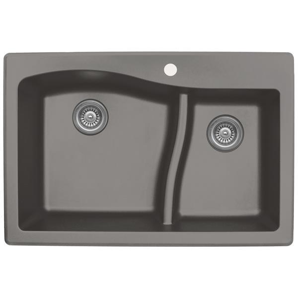 Decolav Karran 33-in Concrete Quartz 1.5 Kitchen Sink