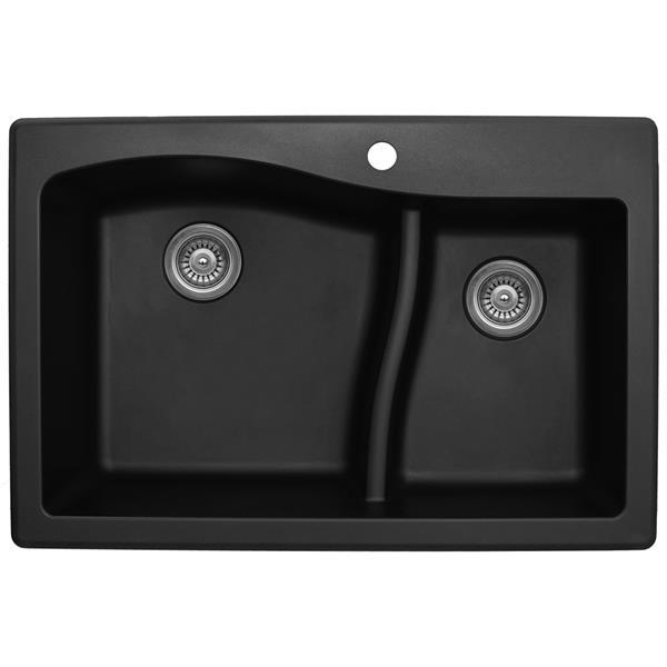 Decolav Karran 33-in Black Quartz 1.5 Kitchen Sink