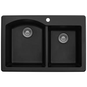 Karran 33-in Black Quartz 1.5 Kitchen Sink