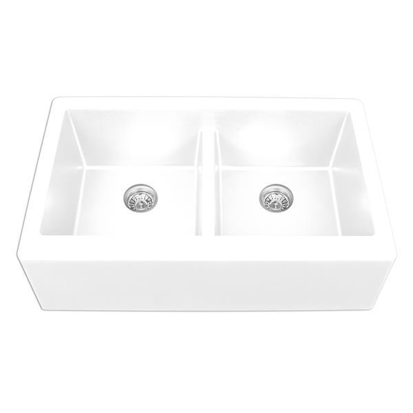 Karran White Quartz 34-in Double Apron-Front Kitchen Sink