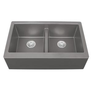 Karran Concrete Quartz 34-in Double Apron-Front Kitchen Sink