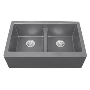 Karran Gray Quartz 34-in Double Apron-Front Kitchen Sink