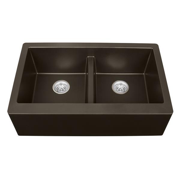 Karran Double Apron-Front Kitchen Sink - 34-in - Quartz - Brown