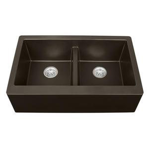 Karran Double Apron-Front Kitchen Sink - 34-in - Quartz - Brown