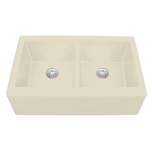 Karran Bisque Quartz 34-in Double Apron-Front Kitchen Sink