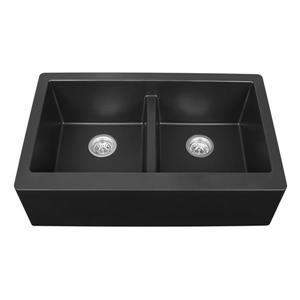 Karran Black Quartz 34-in Double Apron-Front Kitchen Sink