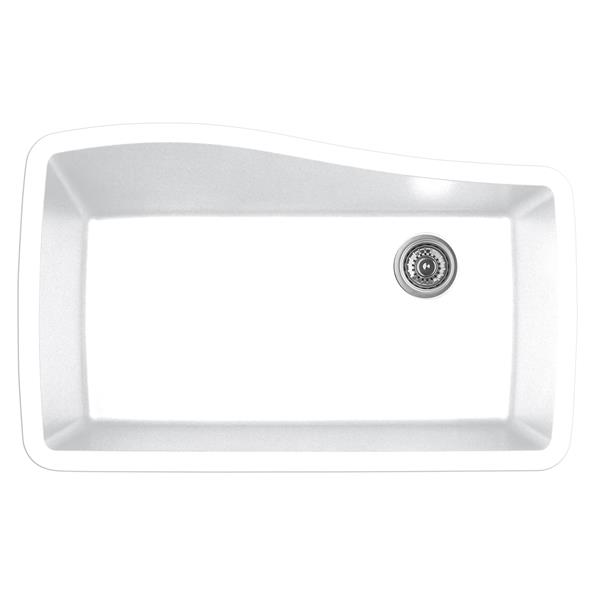 Karran 33.5-in White Quartz Undermount Large Single Bowl Kitchen Sink