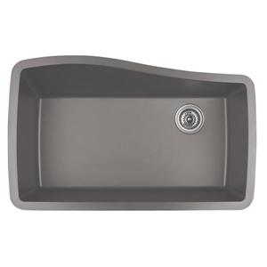 Karran 33.5-in Concrete Quartz Undermount Large Single Bowl Kitchen Sink